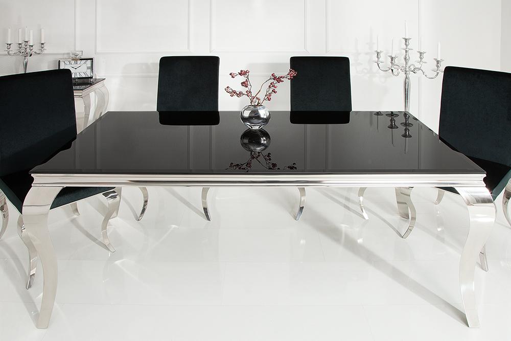 Eleganter Design Esstisch Modern Barock 200cm Schwarz Edelstahl