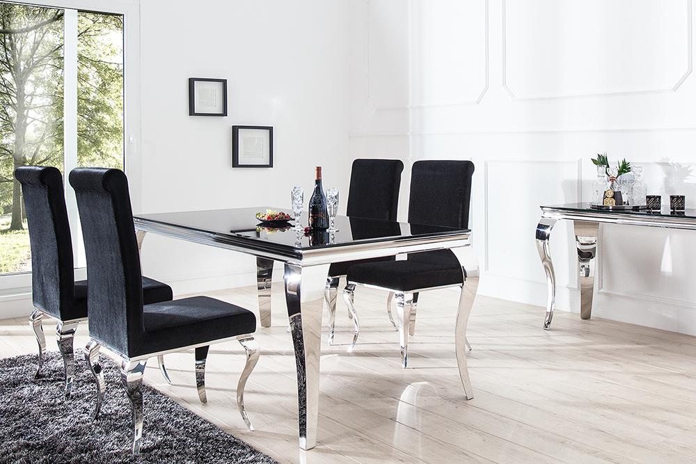 Uberlegen Monumentaler Esstisch MODERN BAROCK Silber 200 Cm Tischbeine Aus Poliertem  Edelstahl Mit Opalglas