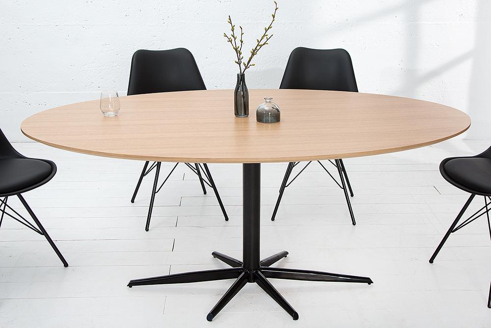 stylischer esstisch signum eiche schwarz 170cm oval s ulentisch riess. Black Bedroom Furniture Sets. Home Design Ideas