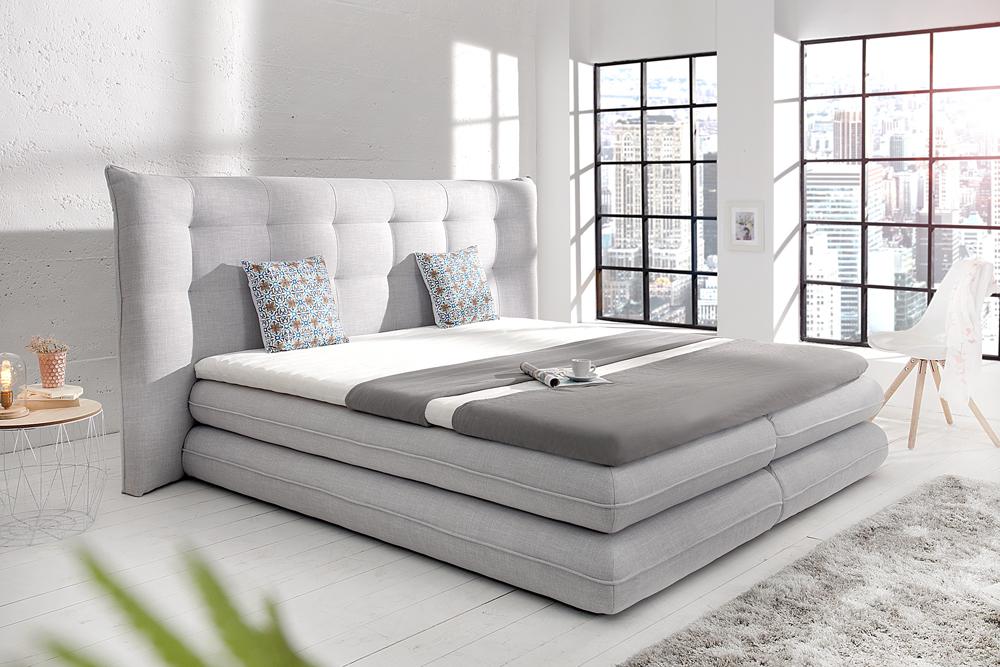 modernes boxspringbett divani 180x200 cm hellgrau inkl matratze und topper riess. Black Bedroom Furniture Sets. Home Design Ideas
