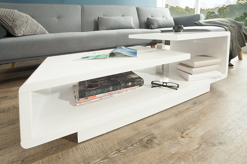 Stylischer Design Couchtisch Concept 100cm Hochglanz Weiss Riess