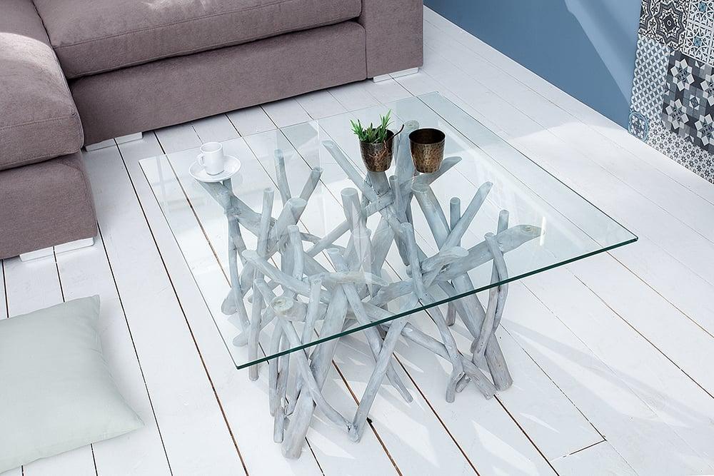 Design teakholz couchtisch driftwood markant grau mit for Designer couchtisch grau