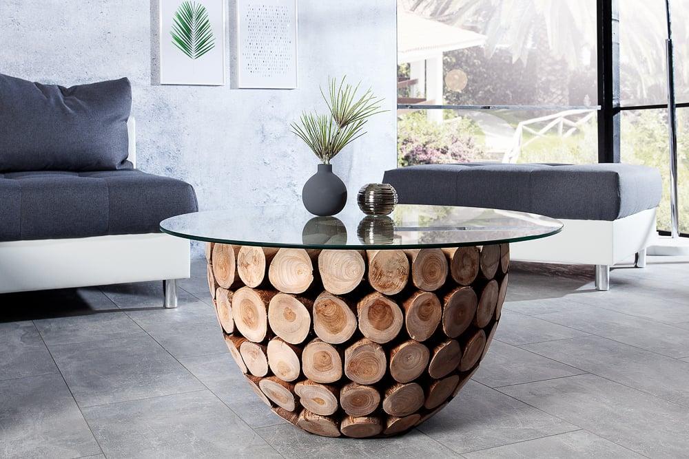 Exklusiver Teak Holz Couchtisch Pure Nature 70cm Rund Mit Glasplatte