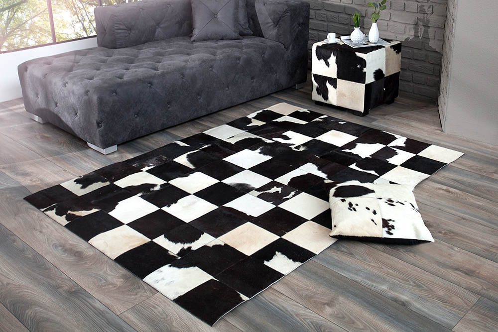 design kuhfell teppich rodeo collection patchwork 195cm schwarz wei riess. Black Bedroom Furniture Sets. Home Design Ideas