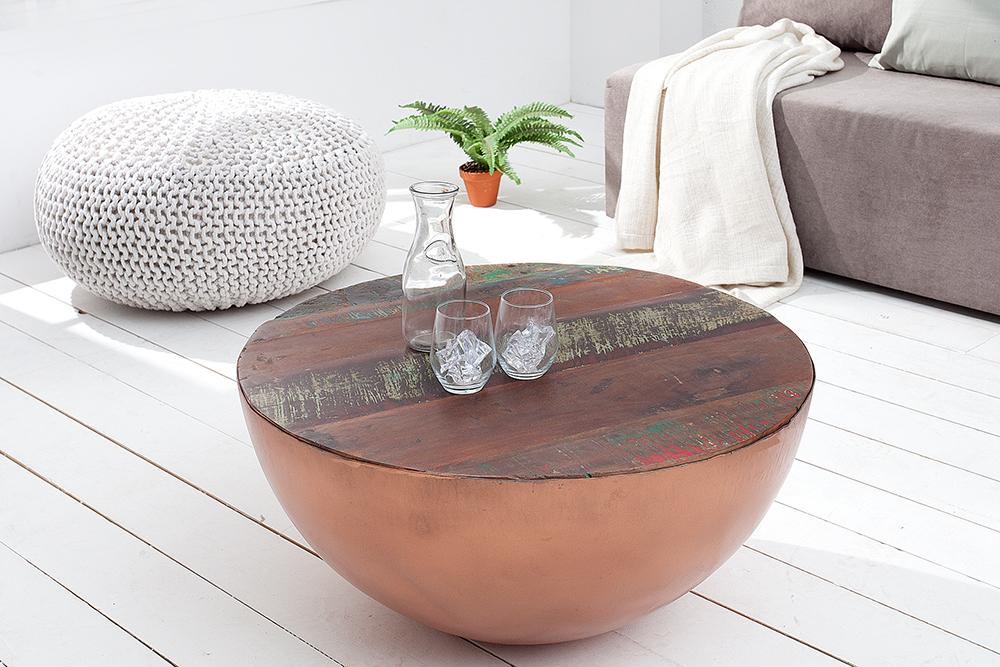 couchtisch jakarta rund aus recycelten fischerbooten kupfer riess. Black Bedroom Furniture Sets. Home Design Ideas