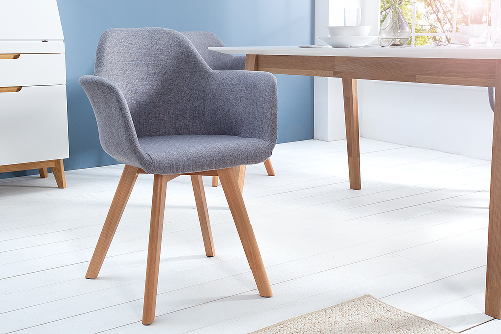 exklusiver stuhl kopenhagen mit armlehne buche gestell strukturstoff grau riess