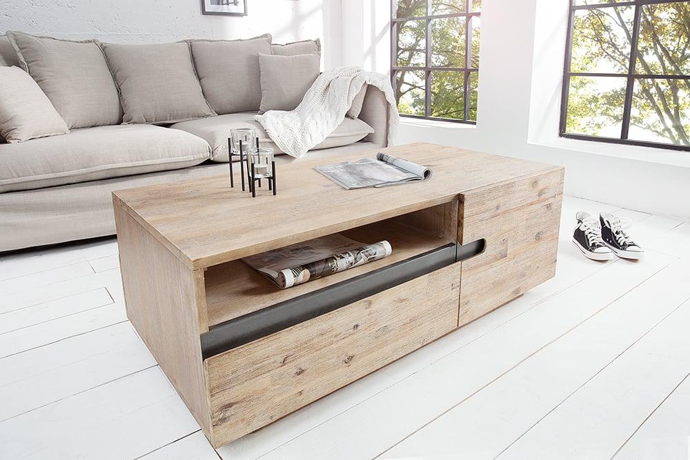 massiver couchtisch wotan akazie massivholz teakgrau gek lkt t ren und f cher beidseitig zu. Black Bedroom Furniture Sets. Home Design Ideas