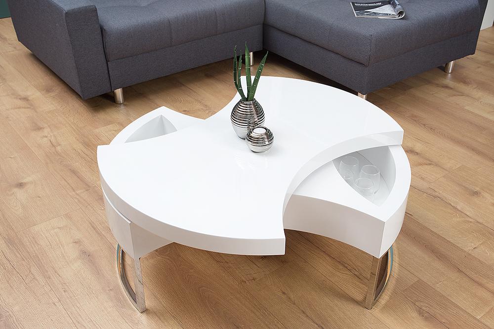 Exklusiver Design Couchtisch TURN AROUND Hochglanz weiß mit ...