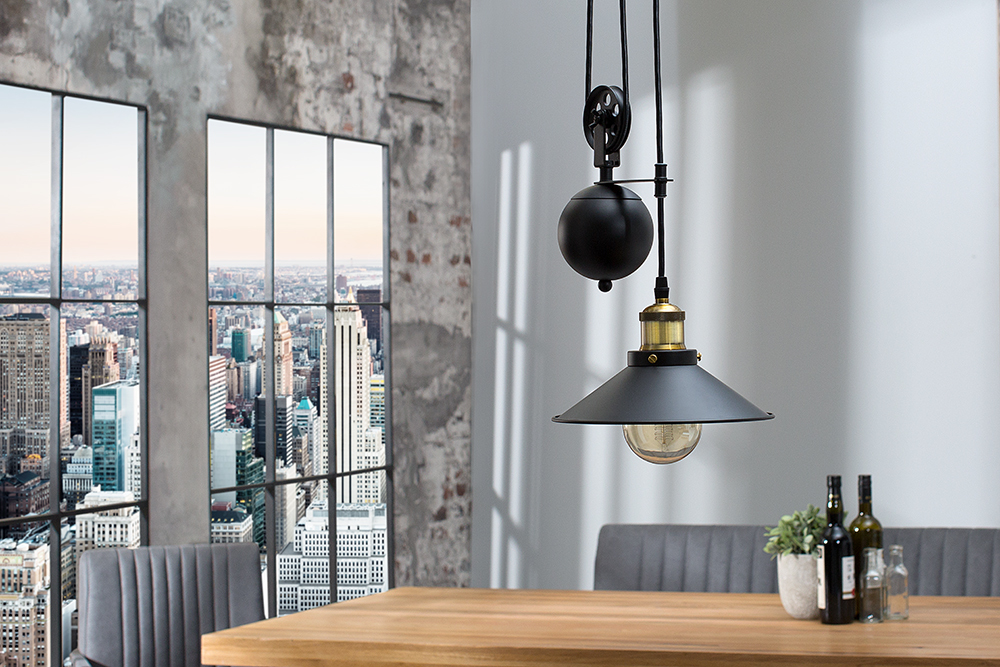 retro h ngeleuchte rope schwarz h henverstellbar seilzug. Black Bedroom Furniture Sets. Home Design Ideas