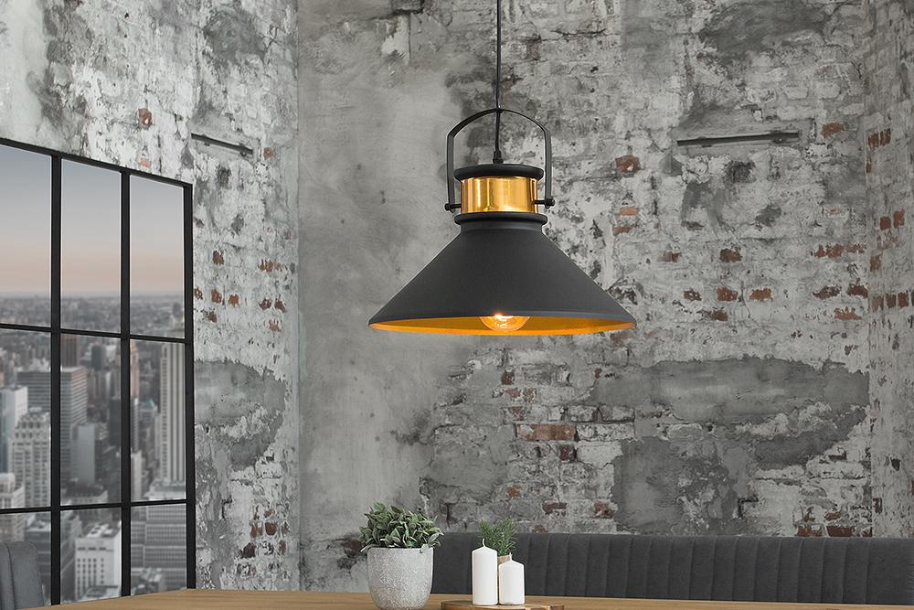 retro h ngeleuchte luz iii schwarz gold industrial design. Black Bedroom Furniture Sets. Home Design Ideas