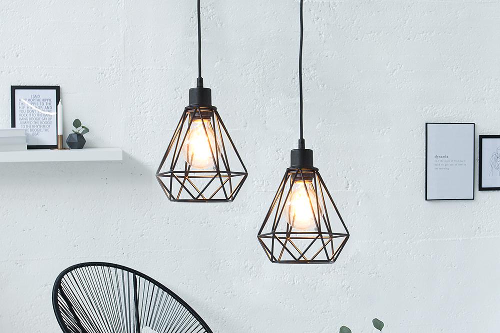 moderne h ngeleuchte cage s schwarz industrial design riess. Black Bedroom Furniture Sets. Home Design Ideas