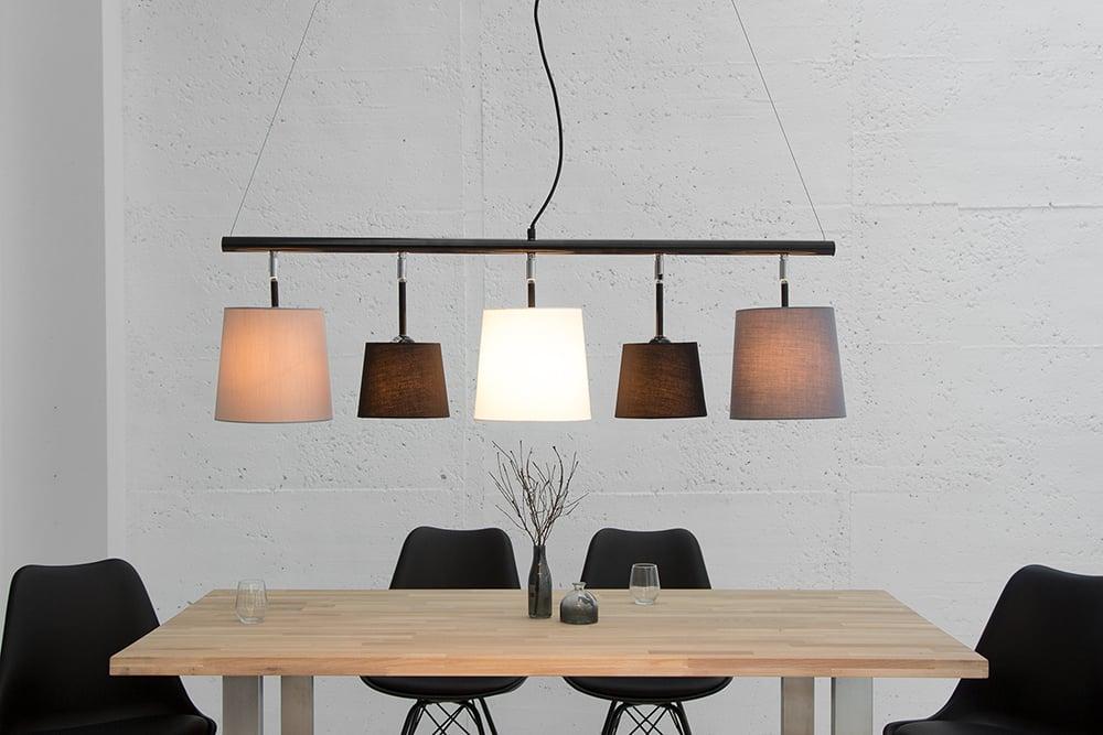 moderne h ngeleuchte levels 100cm schwarz grau wei pendelleuchte leinen design by kare riess. Black Bedroom Furniture Sets. Home Design Ideas