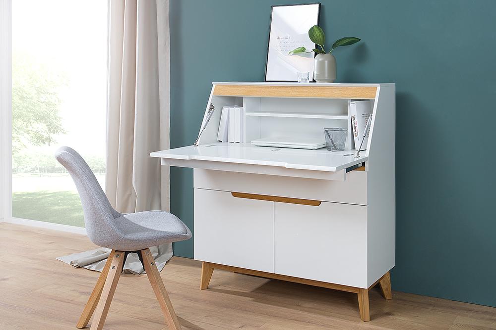 Design Sekretär CERVO 95cm weiß edelmatt Eiche Scandinavian Design ...