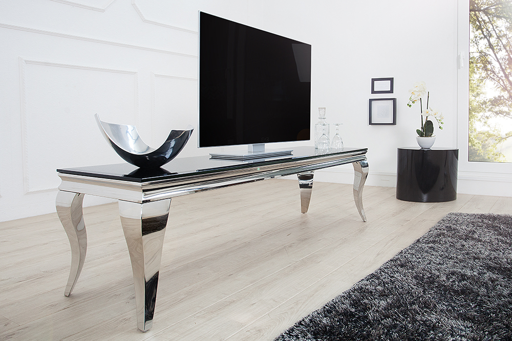 stylischer tv tisch modern barock 160cm edelstahl schwarzes opalglas riess. Black Bedroom Furniture Sets. Home Design Ideas