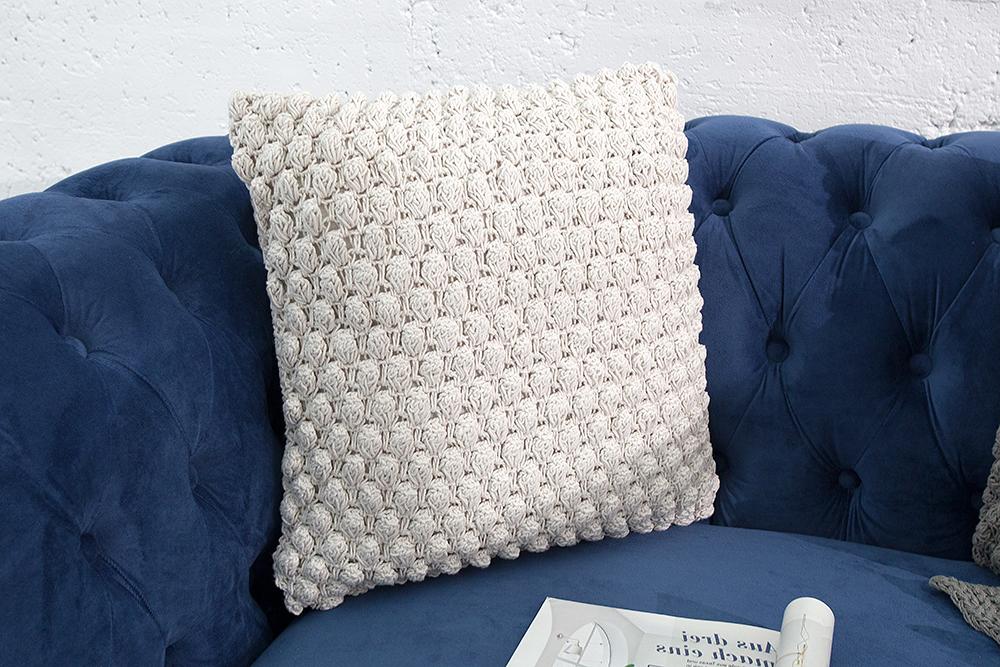 design strick kissen cosy i wei 45cm zierkissen in handarbeit gestrickt riess. Black Bedroom Furniture Sets. Home Design Ideas