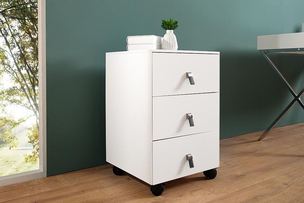 exklusiver design rollcontainer heritage edelmatt wei 3 schubladen mit edelstahl leder. Black Bedroom Furniture Sets. Home Design Ideas