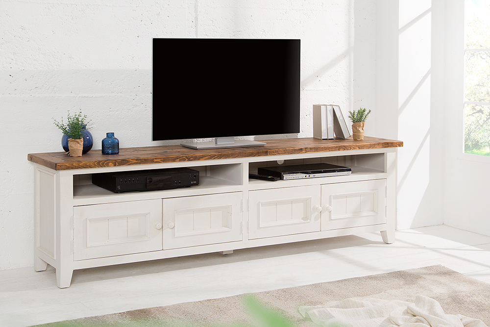 hochwertiges tv lowboard byron 195cm pinienholz wei. Black Bedroom Furniture Sets. Home Design Ideas