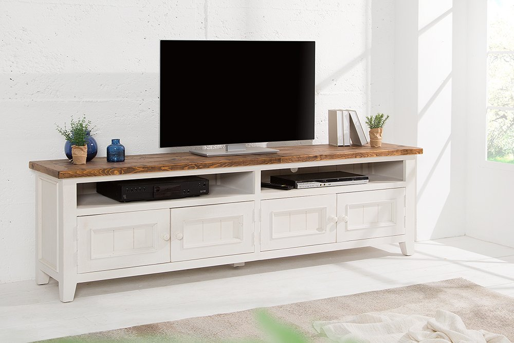 hochwertiges tv lowboard byron 195cm pinienholz wei vintage braun riess. Black Bedroom Furniture Sets. Home Design Ideas