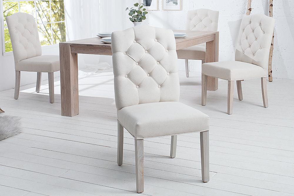 Eleganter Stuhl CASTLE beige mit Chesterfield Steppung im ...