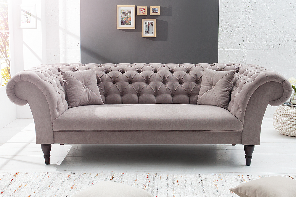 chesterfield sofa contessa soft baumwolle greige mit 2. Black Bedroom Furniture Sets. Home Design Ideas