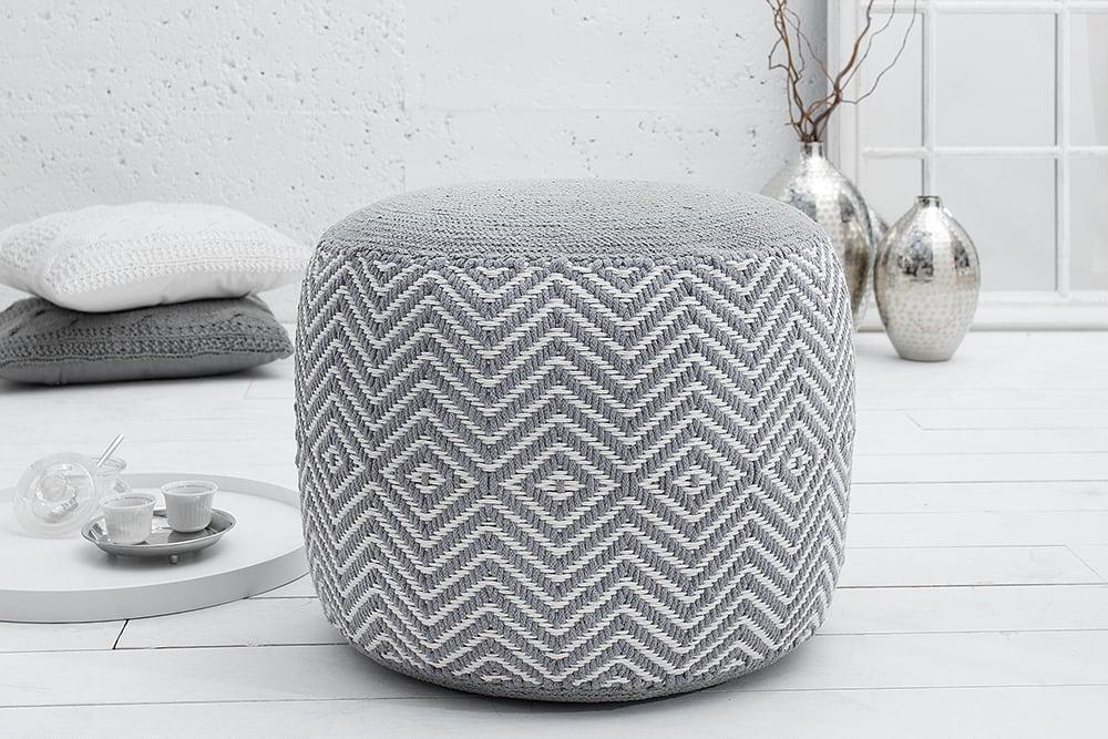 Gewebter Design Pouf LEEDS ORIENTAL 50cm grau weiß Baumwolle ...