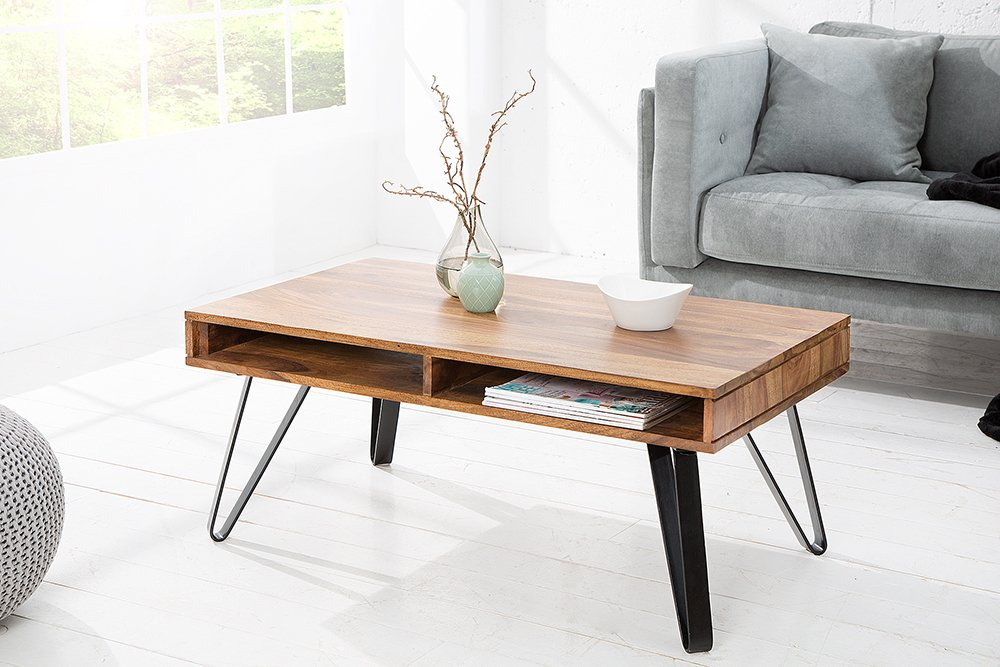 retro couchtisch spider sheesham 100cm metallbeine stone finish riess. Black Bedroom Furniture Sets. Home Design Ideas