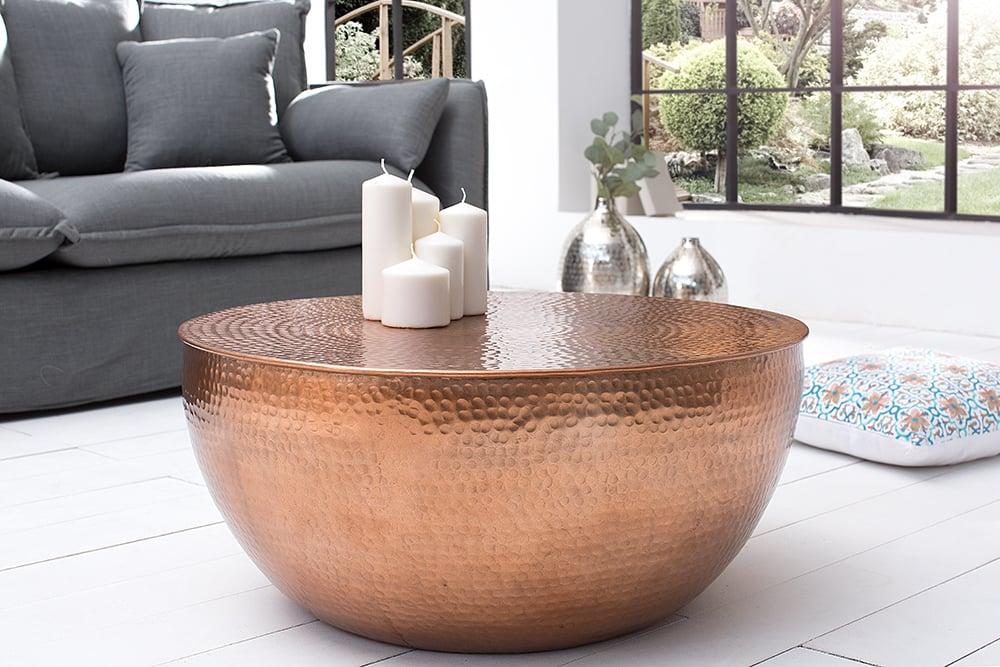 extravaganter couchtisch orient ii 70cm aluminium kupfer. Black Bedroom Furniture Sets. Home Design Ideas