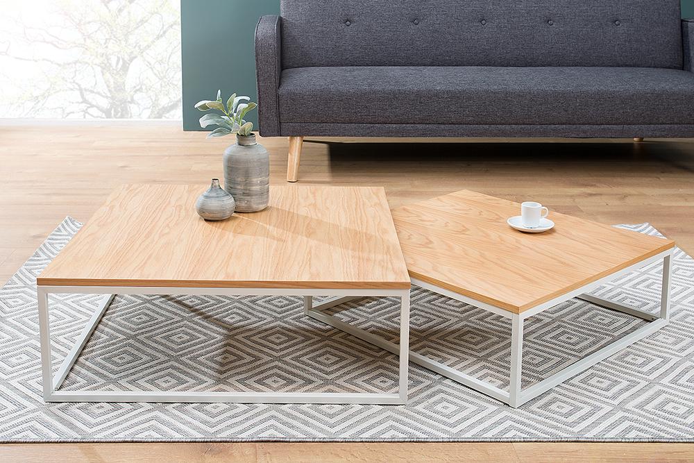 design couchtisch 2er set big fusion eiche wei riess. Black Bedroom Furniture Sets. Home Design Ideas