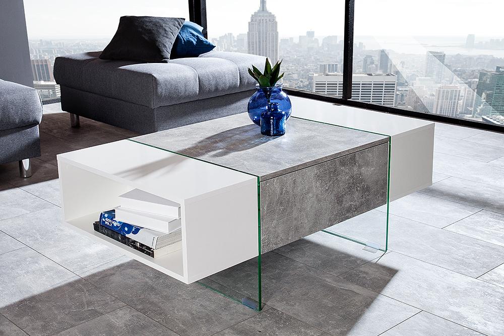 design couchtisch cement collection hochglanz wei beton optik riess. Black Bedroom Furniture Sets. Home Design Ideas