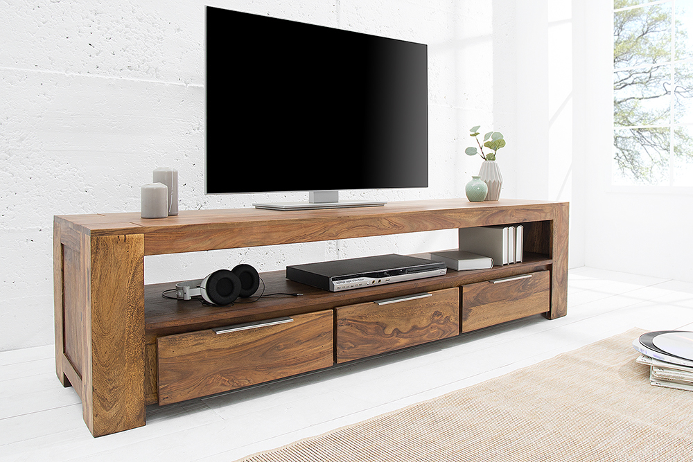 massives tv board makassar 170cm lowboard sheesham mit drei schubladen einzigartige maserung. Black Bedroom Furniture Sets. Home Design Ideas