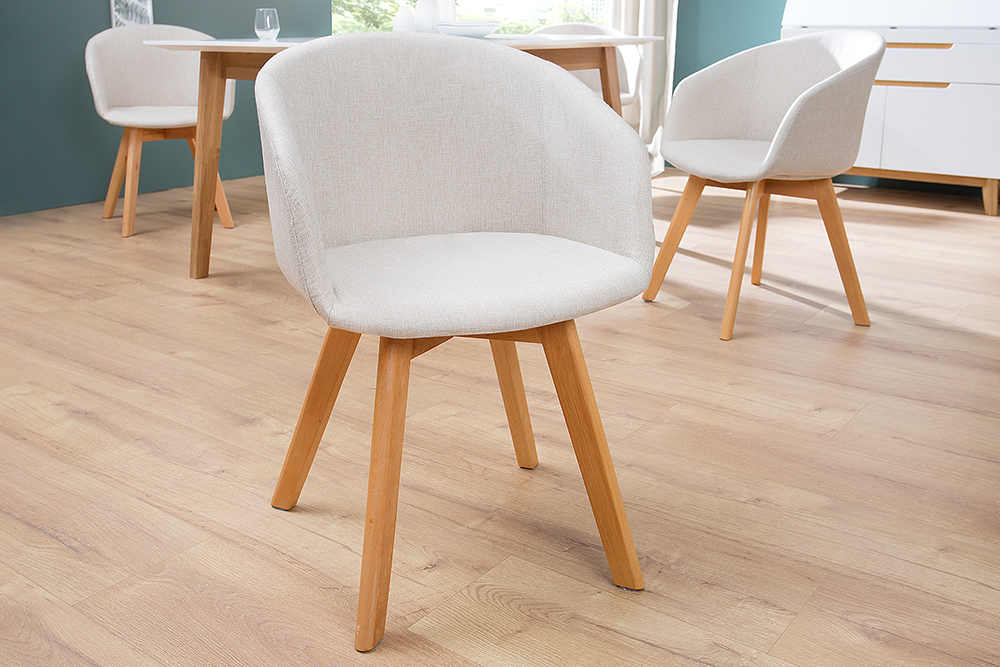 Design stuhl stockholm mit armlehne strukturstoff beige for Design esstisch stockholm