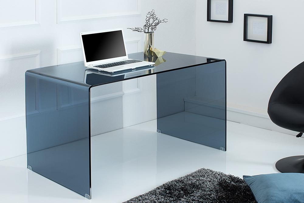 Schreibtisch extravagant  Extravaganter Glas Schreibtisch GHOST 120 cm rauchglas anthrazit ...