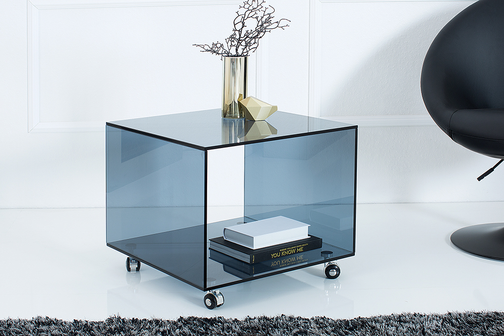extravaganter glas beistelltisch ghost cube mit rollen rauchglas anthrazit riess. Black Bedroom Furniture Sets. Home Design Ideas