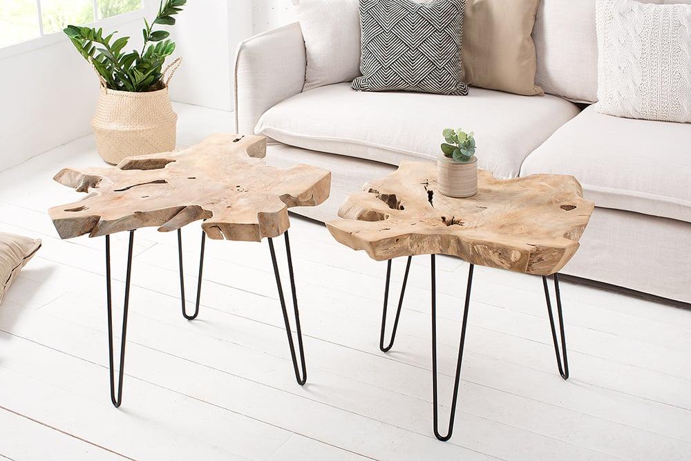Exklusiver Teak Holz Beistelltisch Wild 60cm Baumscheibe Couchtisch