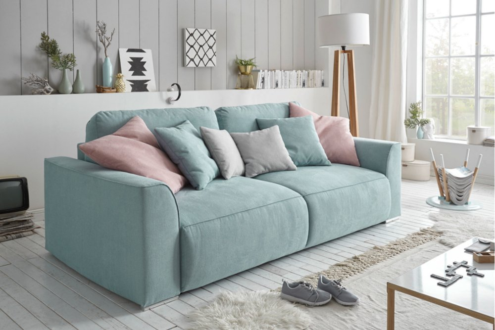 modernes design big sofa weekend aquamarin schlaffunktion mit bettkasten und kissen riess. Black Bedroom Furniture Sets. Home Design Ideas