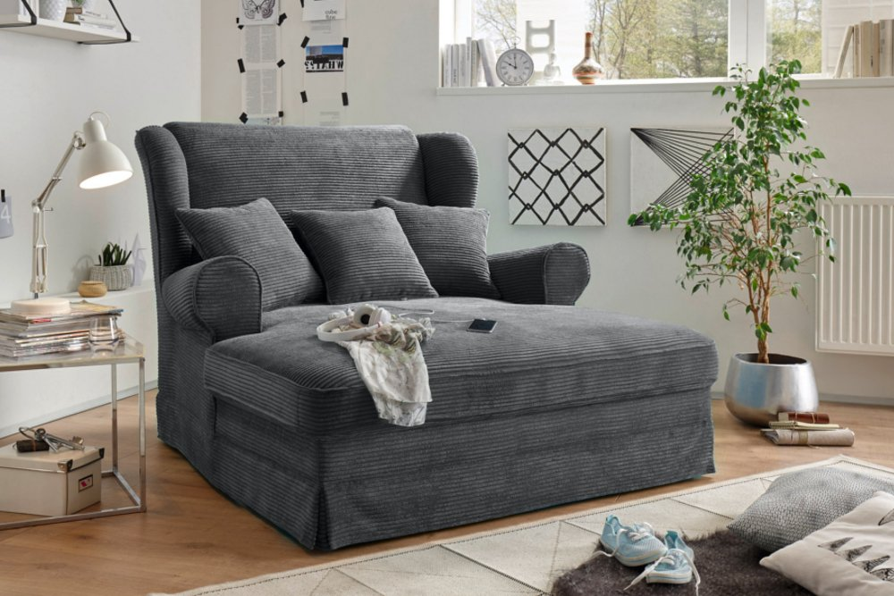 design xxl loveseat sessel melbourne anthrazit cord mit kissen ohrensessel riess. Black Bedroom Furniture Sets. Home Design Ideas