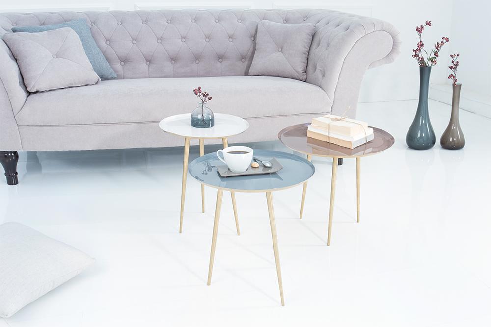 3er set couchtisch three ways 45cm gold pastellfarben. Black Bedroom Furniture Sets. Home Design Ideas
