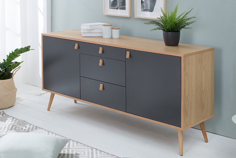 design sideboard globetrotter 150cm eiche anthrazit. Black Bedroom Furniture Sets. Home Design Ideas