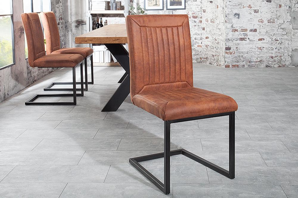 Design freischwinger stuhl bristol vintage light brown for Stuhl industrial design