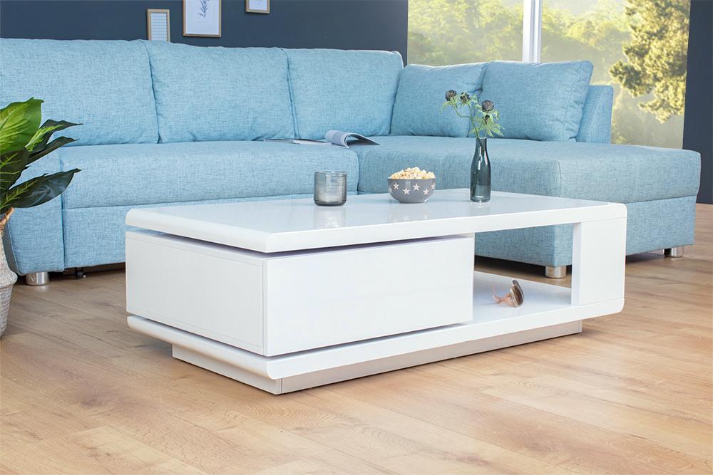 moderner design couchtisch fortuna hochglanz wei mit funktioneller schublade riess. Black Bedroom Furniture Sets. Home Design Ideas