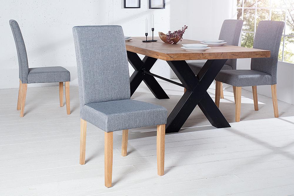 edler stuhl chalet hellgrau massivholzbeine eiche kolonial. Black Bedroom Furniture Sets. Home Design Ideas