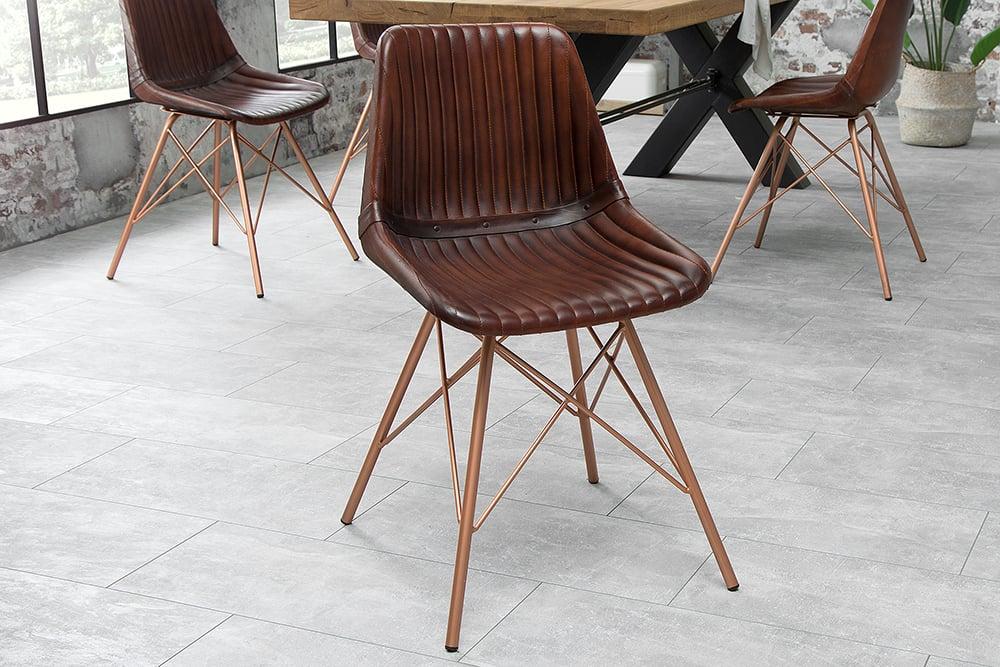 Design Stuhl | Design Stuhl Toro Echtleder Braun Gesteppt Antik Kupfergestell