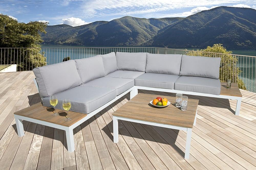 Grosse Garten Sitzgruppe Miami Lounge Xl 245cm Weiss Grau Gartenmobel Inkl Tisch Und Kissen Riess Ambiente De