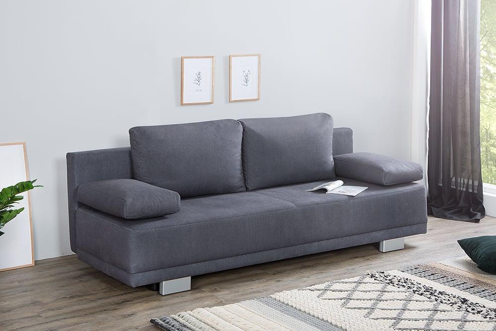 modernes schlafsofa oxford 196cm grau inkl kissen bettkasten riess. Black Bedroom Furniture Sets. Home Design Ideas