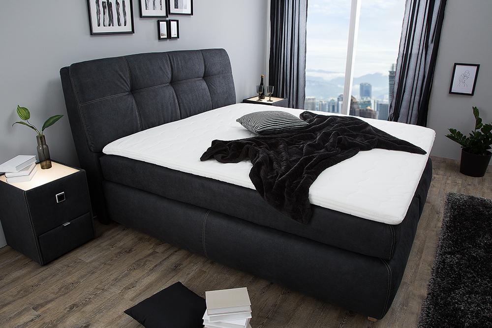 modernes boxspringbett genesis 180x200cm anthrazit inkl matratze und topper riess. Black Bedroom Furniture Sets. Home Design Ideas