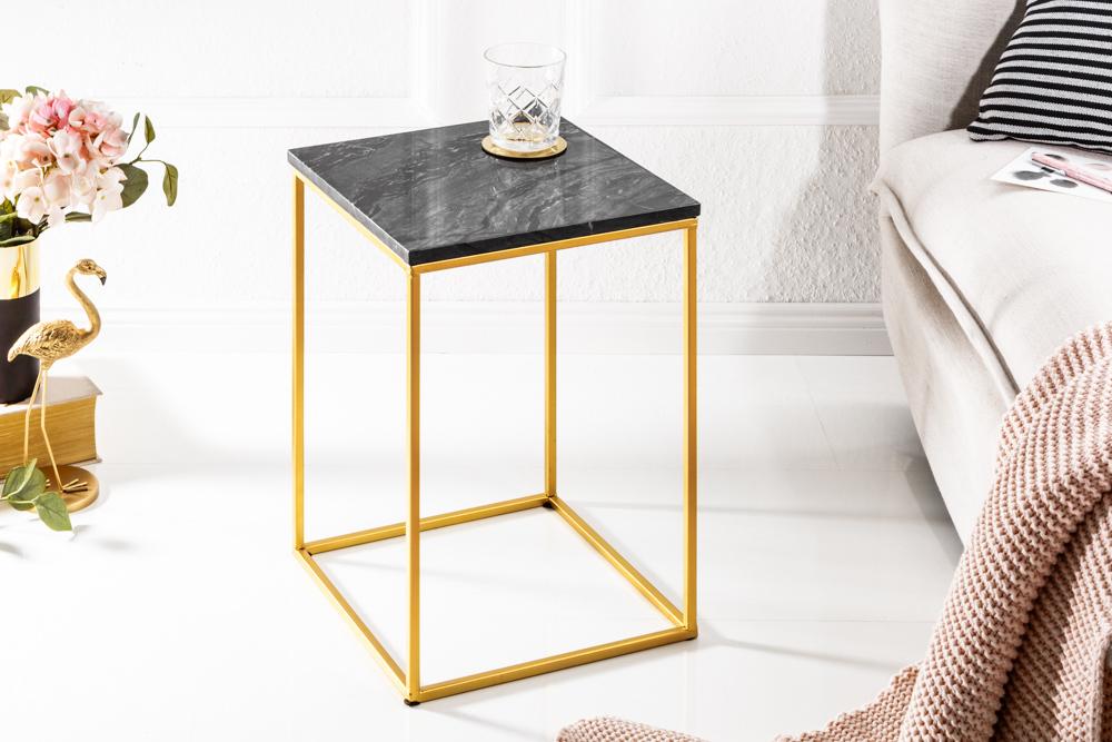 Eleganter Beistelltisch Noble Iv 30cm Marmor Tisch Schwarzer Marmor