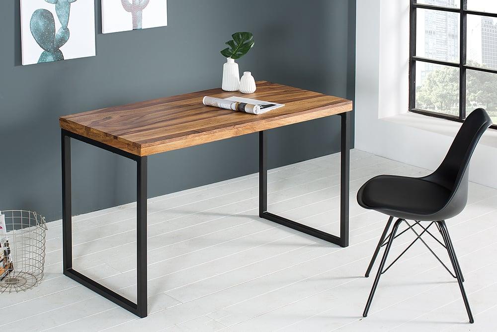 Schreibtisch Elements 120cm Sheesham Stone Finish Metall Schwarz Riess Ambiente De