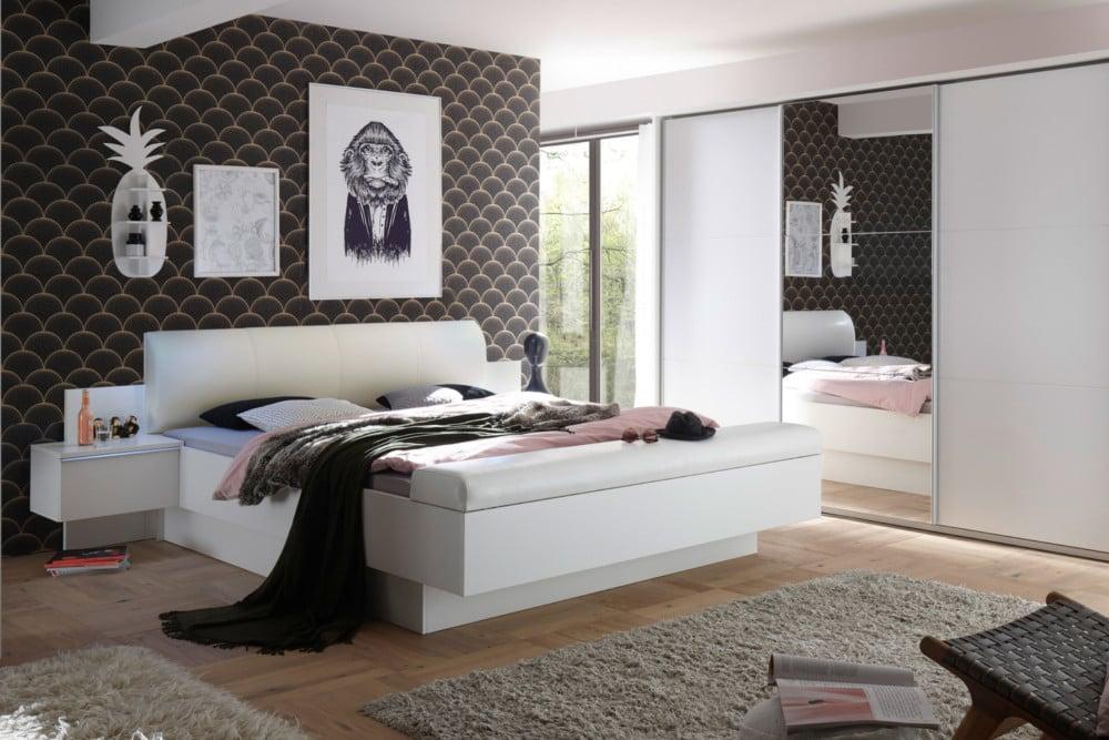 Modernes bett studio 180x200cm wei inkl nachtkommoden for Bett scandinavian design