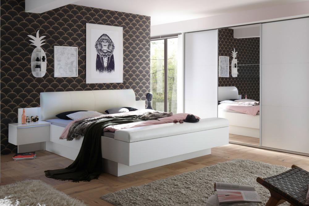 modernes bett studio 180x200cm wei inkl nachtkommoden