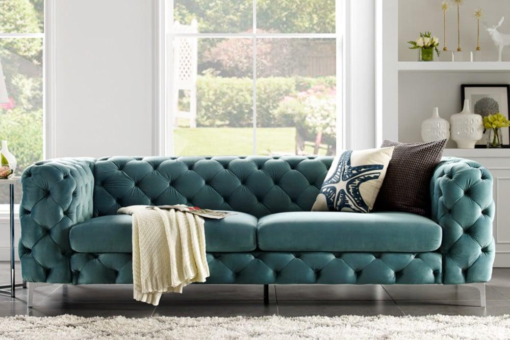 29dbc2411f2287 Elegantes Chesterfield 3er Sofa MODERN BAROCK 240cm aqua Samt ...